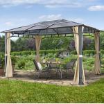 Gartenpavillon Hardtop Sunset Deluxe champagnerfarben, 3x4m Pavillon