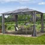Gartenpavillon Hardtop Sunset Deluxe loft grey, 3x4m Pavillon