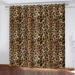 GDYRBY 3D Digitaldruck Tier Leopard Druck Muster Vorhang, Verdunkelungsvorhang Ösenschal Wärmeisolierung Vorhänge Fensterdekoration Für Wohnzimmer Schlafzimmer Kinderzimmer 300X270cm(HxB)