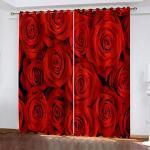 GDYRBY Gardinen Wohnzimmer Verdunklungsvorhänge 300X280cm(HxB) 2 Stücke 3D Hd Druck Rote Rose Druck Muster Blickdichter Vorhang Schlafzimmer Kinderzimmer Küche Dekoration Thermovorhang Ösen