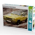 Gelber Ford Capri vor steinigem Hintergrund 1000 Teile Puzzle [4056502654940] Ein gelber Ford Capri wirkt wie gemalt auf steinigem Hintergrund