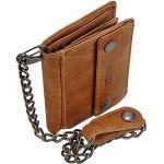 Geldbörse Leder Geldbeutel mit Kette Portemonnaie Branco Kettenbörse Herrenbörse Bikerbörse GoBago (Vintage-Tan)