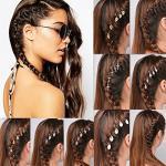 Gemini_Mall®, Ringe fürs Haar, 10Stück, für Frauen und Mädchen, niedlich, glänzend, Gold und Silber, in Sternen-Form, Haarschmuck für Zöpfe