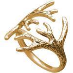 Gemshine Alpin Hirsch Elch Geweih Ring 925 Silber, hochwertig vergoldet oder rose - Größenverstellbar - Nachhaltig, Fair Trade, Ethisch - Made in Madrid, Spain