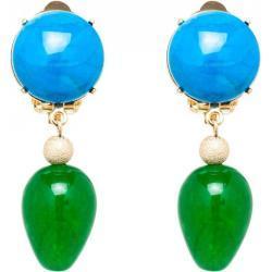 Gemshine - Damen - Ohrringe - Ohrclips - Vergoldet - Türkis - Jade - Blau - Grün - TROPFEN - 3,5 cm