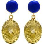 Gemshine Paar Ohrhänger »3-D Goldgelbe Citrin Ovale und Lapis Lazuli«, 925 Silber vergoldet