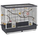Geräumiges Vogelheim für Kanarienvögel, Sittiche und kleine Exoten PIANO 6 von Ferplast, komplett mit Zubehör, modularer Sitzstange und drehbaren Futternäpfen, 87 x 46,5 x H 70 cm