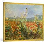 Gerahmtes Bild von Vincent Van Gogh Grüne Kornhalme, Kunstdruck im hochwertigen handgefertigten Bilder-Rahmen, 100x70 cm, Gold Raya