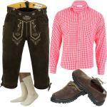 GermanWear Trachtenset Lederhose Haferlschuhe Trachtenhemd und Socken 5-teilig