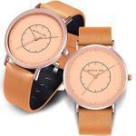Geschenk für Paaren Uhren Lederarmband 30M Wasserdicht Analog Quarz Rundes Zifferblatt Paar Uhr Partneruhren Set Armbanduhr für Damen und Herren