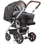 Gesslein Kombi-Kinderwagen F4 Air+, eloxiert/tabak mit Tragetasche C2 Compact, anthrazit/Sterne grau weiß, ; Made in Germany; Kinderwagen Kinder Buggies