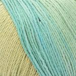 ggh Calypso / 100% Baumwolle / 50g Wolle zum Stricken oder Häkeln mit langem Farbverlauf/Farbe 005 - Oliv-Türkis