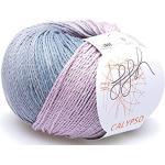 ggh Calypso / 100% Baumwolle / 50g Wolle zum Stricken oder Häkeln mit langem Farbverlauf/Farbe 008 - Altrosa - Grau