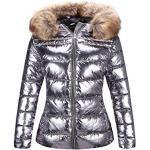 Silberne Wasserdichte Damenjacken Metallic mit Reißverschluss mit Pelzkragen für Partys