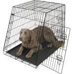 Gitter Transportbox für Hunde abgeschrägt, klappbar, schwarz, 92x63x74cm, 2 Türen
