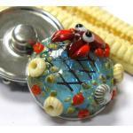 Glas Druckknopf, Muranoglas, Lampwork, Meer, See, Krabbe, Netz