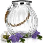 Glaskönig Glaslaterne Deko Windlicht mit Seil - Kerzenglas Laterne Klarglas Ø 20 cm Höhe 21,5 cm - Garten Deko Dekoglas als Tischdekoration oder Balkon Deko - Glaslaterne als Blumenvase