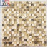 Glasmosaik Rimini Naturstein Mosaikfliese beige braun creme für Bad Küche Poo...