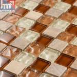 Glasmosaik Sa Coma Naturstein Mosaikfliese braun creme weiß orange Bad Küche ...