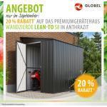 Globel Gerätehaus Fahrradschuppen Lean To 58 BxTxH 155x242x203cm Anthrazit