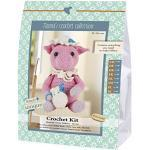 Go Handmade Pig, 1 Häkel-Set Hillary Häkelset, Baumwolle, pink/weiß/blau, 16 x 7 x 22 cm