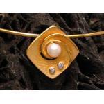 Gold Anhänger inkl. Halsreifen Kette mit Zuchtperle