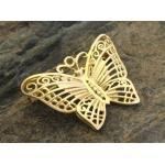 Gold Brosche - filigraner Schmetterling 31mm - Gold 333