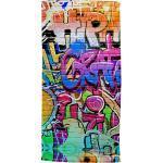 Good Morning Polyvelours Strandtuch Graffiti bunt 75x150 cm