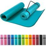 GORILLA SPORTS® Yogamatte mit Tragegurt 190 x 100 x 1,5 cm Rot rutschfest u. phthalatfrei – Gymnastik-Matte für Fitness, Pilates u. Yoga in Blau
