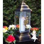 Grablaterne Grablampe Rosen Ornament Bronze 34,0cm incl. Grabkerze Grablicht Grabschmuck Grableuchte Laterne Kerze Lampe Licht