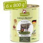 GranataPet Liebling's Mahlzeit Rind & Fasan, Nassfutter für Hunde, Hundefutter ohne Getreide & ohne Zuckerzusätze, Alleinfuttermittel, 6 x 800 g