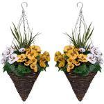 GreenBrokers 2x Künstliche Kegelförmige Blumenampeln mit Gelb & Weiß Blumen und dekorative Gräser (Set von 2)