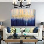Große Abstrakte Goldene Ölgemälde, Marine Blau Weiß Farben, Moderne Kunst Goldblatt, Strukturierte Kunst, Lebendige Leinwand Wandkunst Luxuriöse