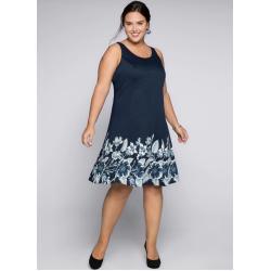 Blaue Sheego Abendkleider mit Reißverschluss für Damen Übergrößen