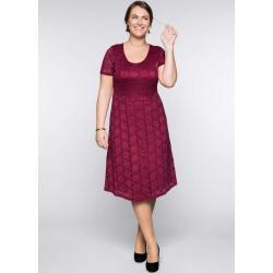 Rubinrote Kurzärmelige Romantische Sheego Spitzenkleider mit Reißverschluss für Damen Übergrößen