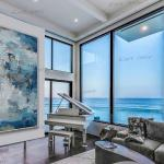 Große Leinwand Wand Kunst Palette Messer Gerahmt Vertikal Modern Contemporary Abstraktes Kunstwerk Vertikales Acrylgemälde Periwinkle Denim Blau