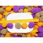 Großhandel für Schneiderbedarf 3 m Pomponborte violett gelb beige 30 mm 3,16 €/m
