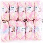 Gründl Baby color Wolle, 70% Polyacryl 30% Polyamid, rose multicolor, 35 x 32 x 8 cm (10er packung)