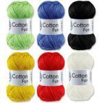 Gründl Cotton Fun Häkelgarn Schulgarn 100% Baumwolle SET 3 Bunt Mix 6 x 50 g = 300 Gramm