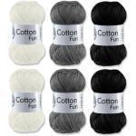 Gründl Cotton Fun Häkelgarn Schulgarn 100% Baumwolle SET 6 Schwarz, Grau, Weiß