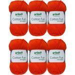 Gründl Cotton Fun Wolle Set 6x 50 Gramm Dunkelorange 18 aus 100% Baumwolle