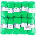 Gründl Lisa Premium Uni Strick- & Häkelgarn (weicher und wollartiger Charakter, pflegeleichtes Strickgarn aus 100% Polyacryl, 50 g/ 133 m, Nadelstärke: 3,5 - 4,5, 10 Knäuel á 50 g), Neongrün
