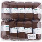 Gründl Lisa Premium Uni Strick- & Häkelgarn (weicher und wollartiger Charakter, pflegeleichtes Strickgarn aus 100% Polyacryl, 50 g/ 133 m, Nadelstärke: 3,5 - 4,5, 10 Knäuel á 50 g), Schokolade