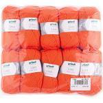 Gründl Lisa Premium Uni Strick- & Häkelgarn (weicher und wollartiger Charakter, pflegeleichtes waschbares Strickgarn aus 100% Polyacryl, 50 g/ 133 m, Nadelstärke: 3,5 - 4,5, 10 Knäuel á 50 g), Orange