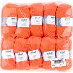 Gründl Lisa Premium Wolle, Polyacryl, neonorange, 133 m, Nadelstärke 3,5- 4,5, 10er Pack