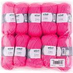 Gründl Lisa Premium Wolle, Polyacryl, neonpink, 133 m, Nadelstärke 3,5- 4,5, 10er Pack