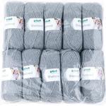 Gründl Shetland, Vorteilspackung 10 Knäuel à 100 g Handstrickgarn, 80% Polyacryl, 20% Wolle, Grau, 55 x 40 x 10 cm, 1700