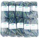 Gründl Vorteilspackung Filzwolle Garn Color, 10 Stück, Grün/ Blau