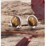 Guru-Shop Paar Ohrhänger »Indische Silber Ohrstecker, ovale Boho..«, goldfarben