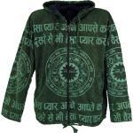Guru-Shop Strickjacke »Goa Jacke, Ethno Hoody mit Mantra Druck - grün«, grün, grün